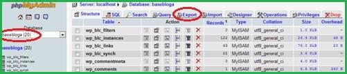 PhpAdmin экспорт базы данных