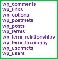 Список обязательных таблиц базы данных phpAdmin